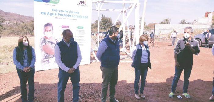 Entregan sistema de agua potable en comunidad de La Soledad municipio de Moroleón